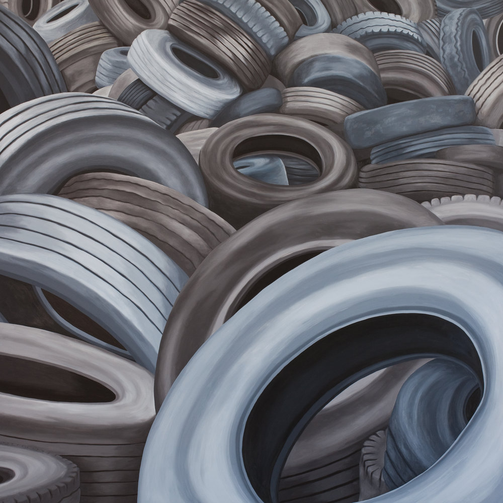 Tires #1, 2018, Oil on Panel, 30 X 30 inches
