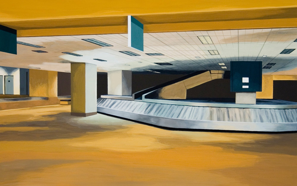 Baggage Claim, 2005, Gouache on Paper, 15 X 22 inches