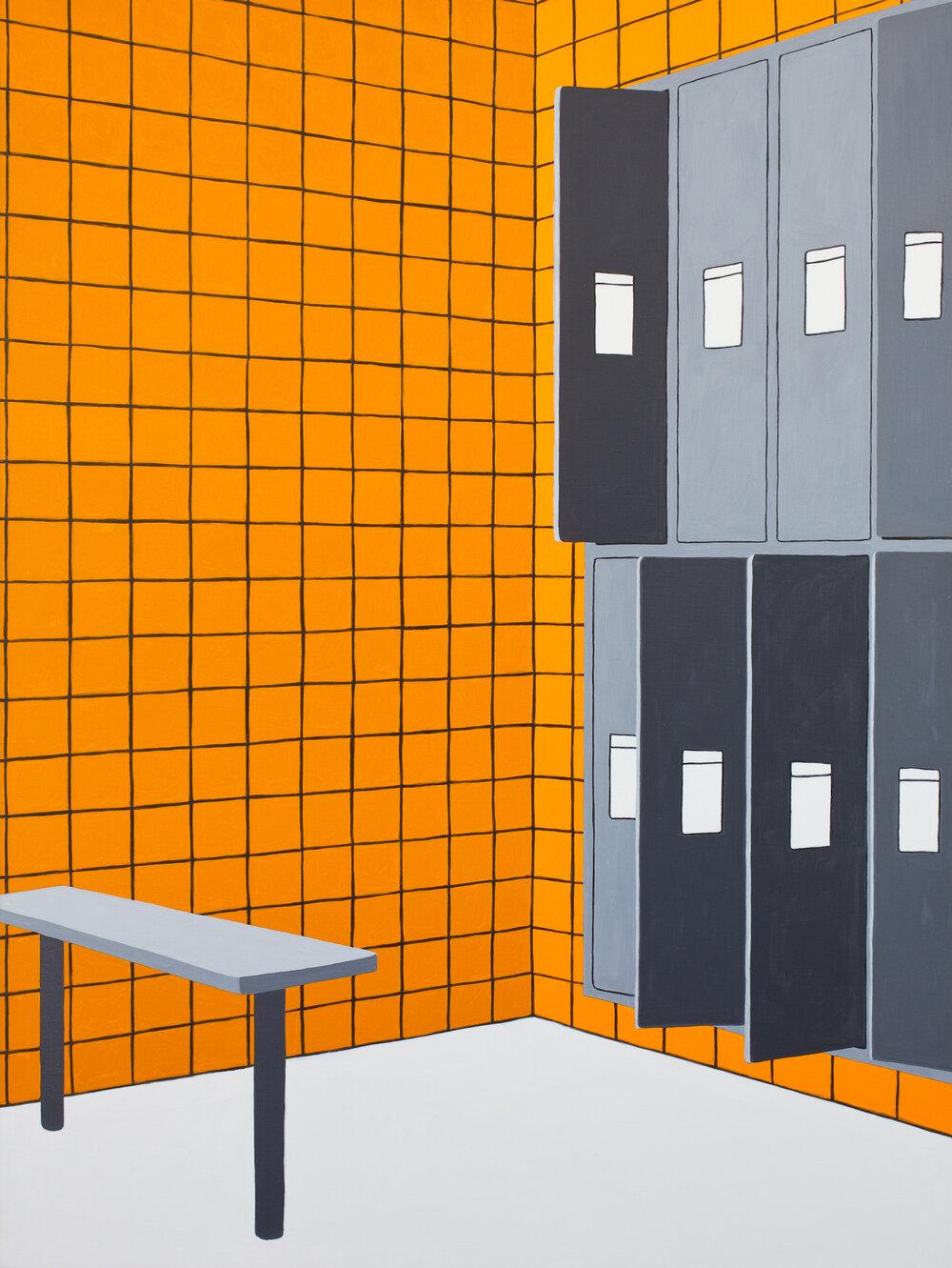 Locker Room #2, 2019, Oil on Linen, 24 X 32 inches