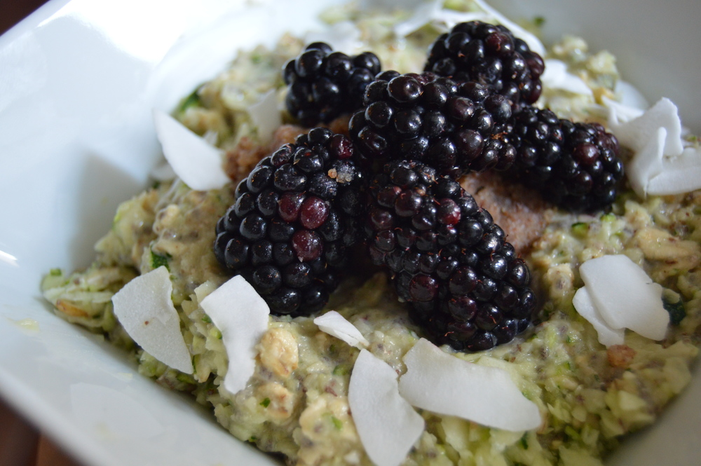 shown here with homemade almond-walnut butter, fresh blackberries, and unsweetened coconut flakes
