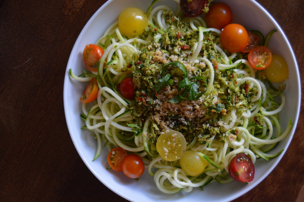 "Zoodles with Sun-dried Tomato Pesto and Brazil Nut ""Parm"""