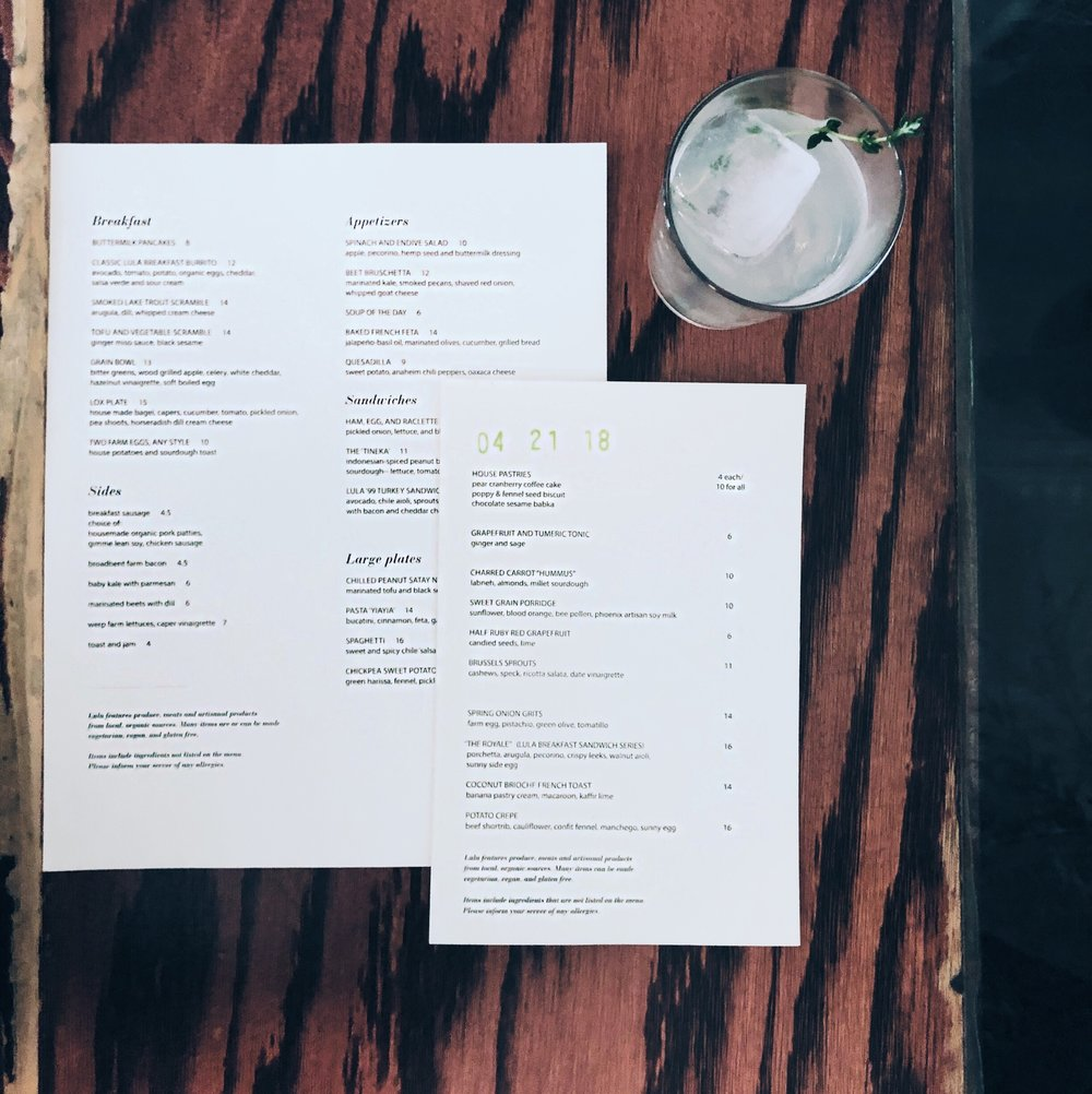 Lula Cafe Menu, Updated Regularly