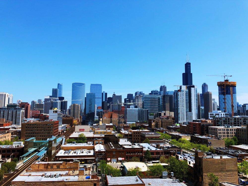 Chicago Roof Top Fulton Market Skyline