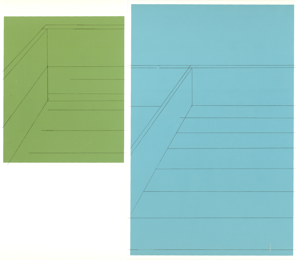 Blue and Green, Deck Corner, graphite transfer on screenprint, 8 x 9 inches