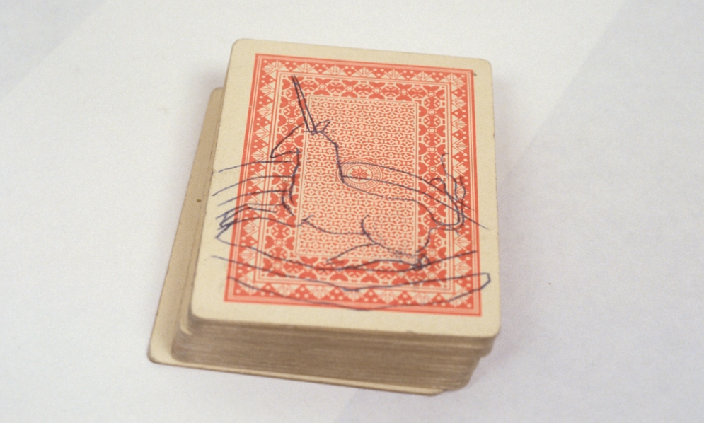 1995, Solitaire ,  carbon paper drawing on cards