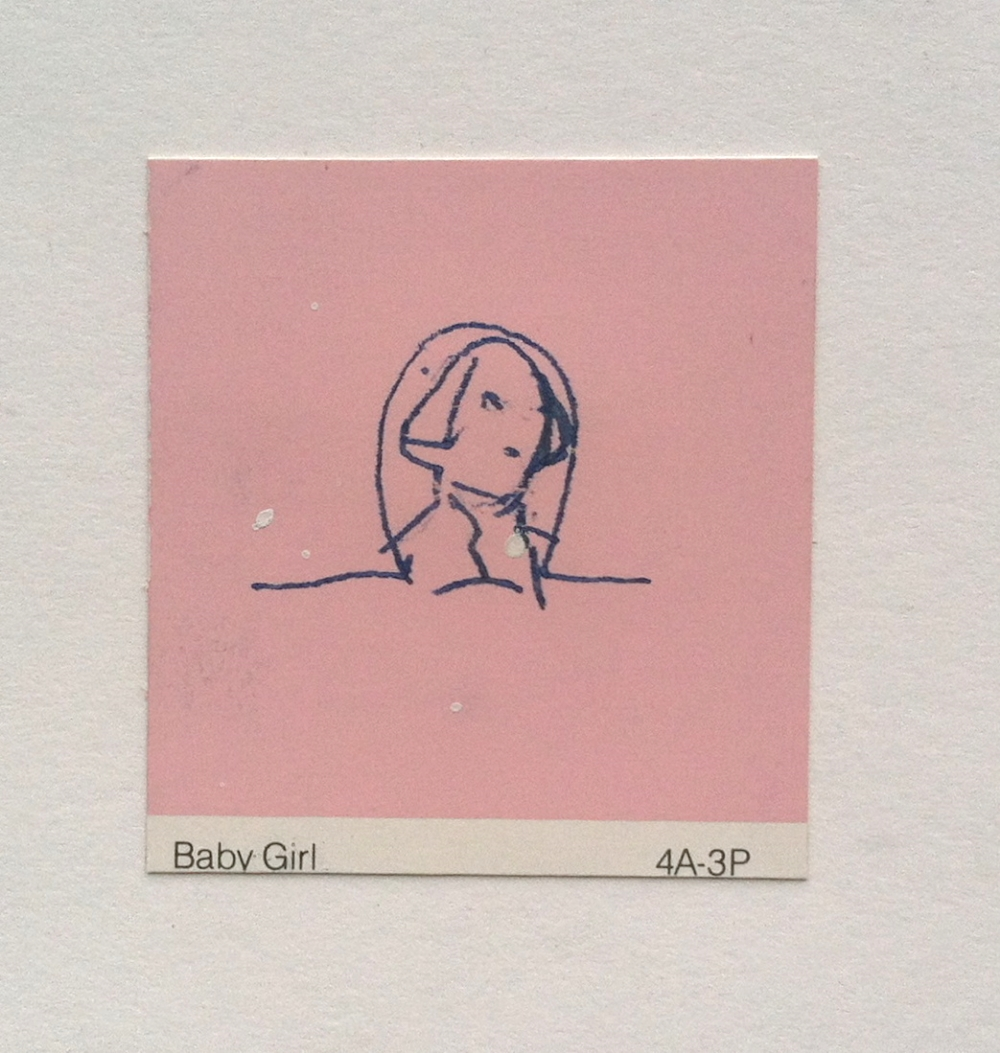 Kate Shepherd, 1996, wax and transfer on paint chip, 2.25 x 2 inches.jpg