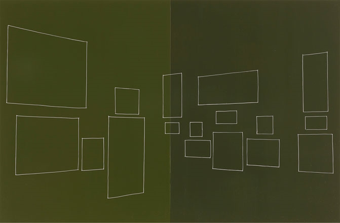 A Barnes Collection, old green wall , oil and enamel on panels, 16 x 26 inches