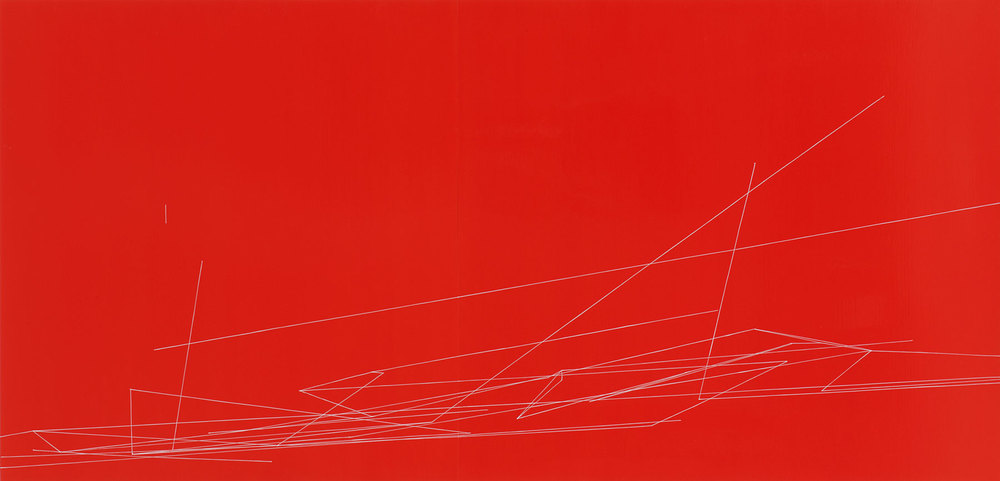 Red Action #3, oil and enamel on panels, 34 x 70 inches