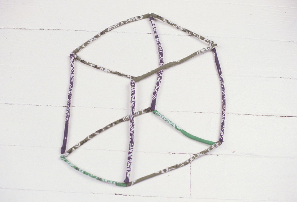 Transparent Cube, bandanna sewn over twigs, 4 x 11 x 13 inches