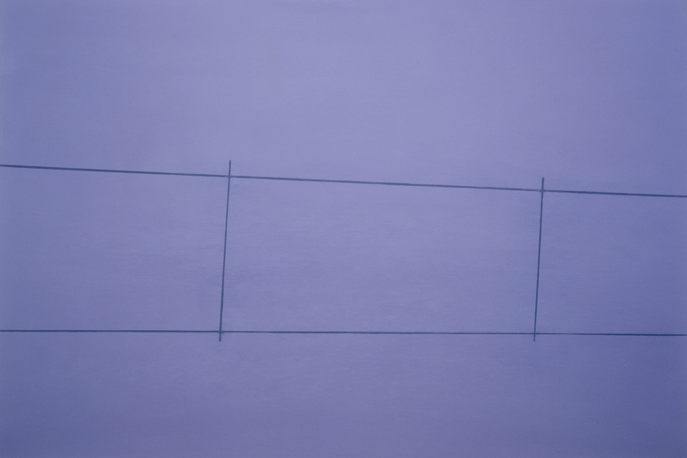 Fence, Purple 2 Posts, oil on canvas, 32 x 48 inches