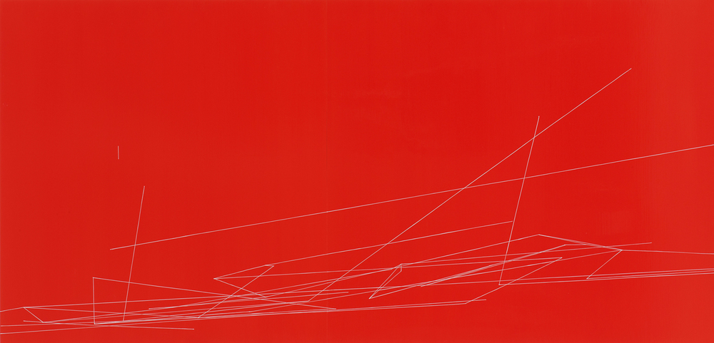 Red Action #3 , oil and enamel on panels, 34 x 70 inches