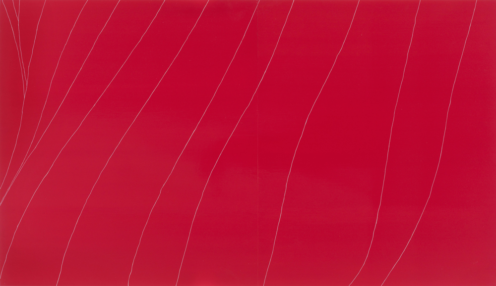 Gahan Wilson Red Flag  , oil and enamel on panel, 45 x 78 inches