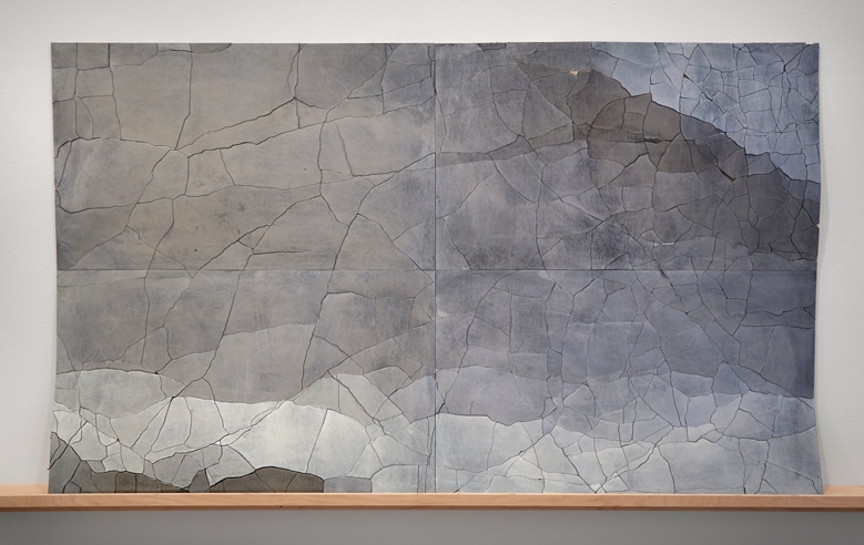 Central Park, double cut @ 4, silver over black, 34.5 x 59 inches, 2014