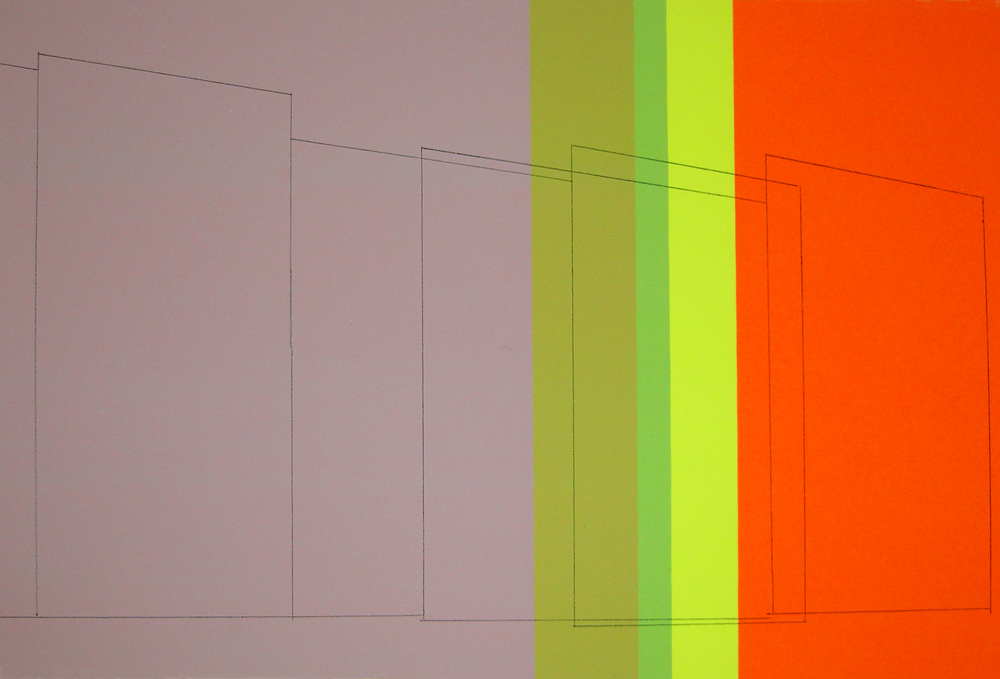 Tall Walls, Some Transparent, Montresor Colors,  graphite transfer on screenprint