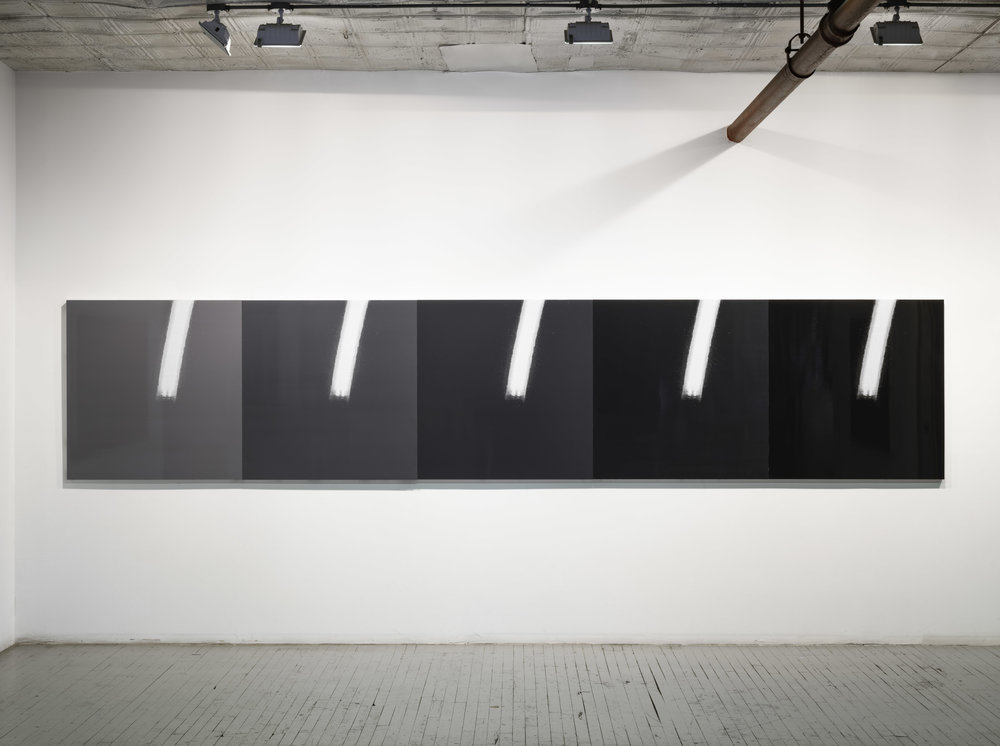 "Kodak, Bolts, Giraffe Horns , 2018, screen printed enamel and enamel on panels 205"" x 42"" o/a"