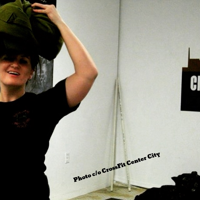 Resting a sandbag on my head at CrossFit Center City, circa 2009-ish.