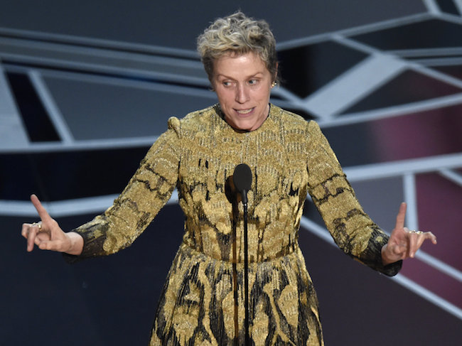 Frances McDormand during her Oscar acceptance speech for a lead role in Three Billboards Outside Ebbing, Missouri. Photo: Chris Pizzello/Invision/AP