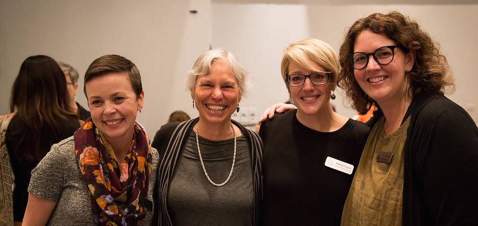 Founding Statera Team pictured with WomenArts Executive Director, Martha Richards. From left to right: Shelly Gaza, Martha Richards, Melinda Pfundstein, and Sarah Greenman.