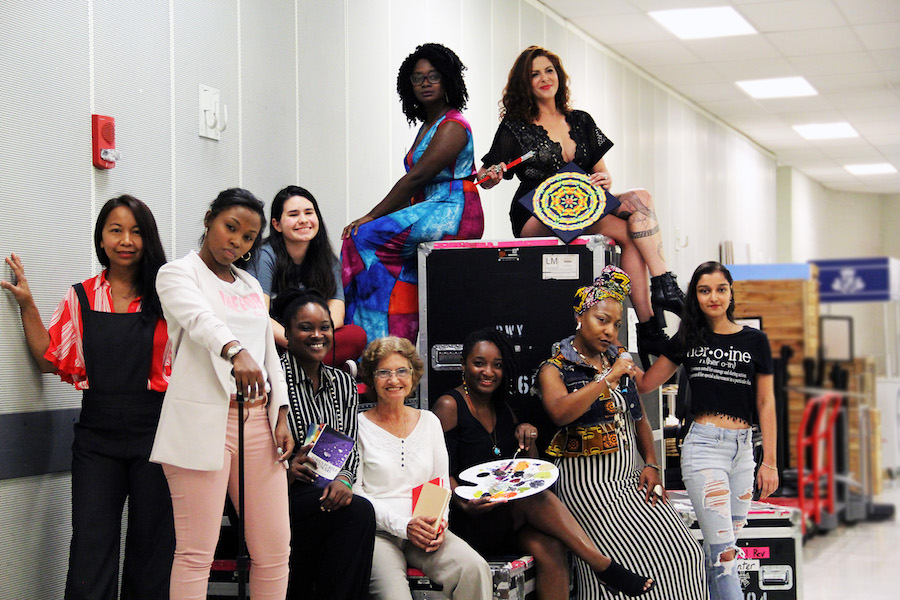 Spoken Soul Festival 2019 Featured Artists from left to right: Munirah Rimer, Ronavia Williams, Angie Lopez, Habian, Perla Gonzalez, Esther Rose McCant, Jarbath Art, Cheri Vice, Alana Da Costa, and Reshma Anwar. Not pictured: Beláxis Buil, Jacquea Mae, Dynasty Steppers, Sharonda ECCentrich Richardson, and Alejandra Romero aka DJ Musicat. (Photo by Moment 77)