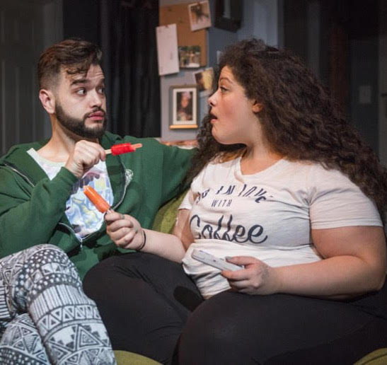 Teressa LaGamba as Sam (right) and Robert Quintanilla as Leo (left) in Morgan Gould's I WANNA FUCKING TEAR YOU APART at Rivendell Theatre Ensemble.