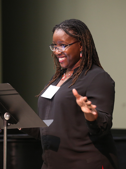 Nataki Garrett speaking at Statera's National Conference in Milwaukee. (Photo by Malloree Delayne Hill.)