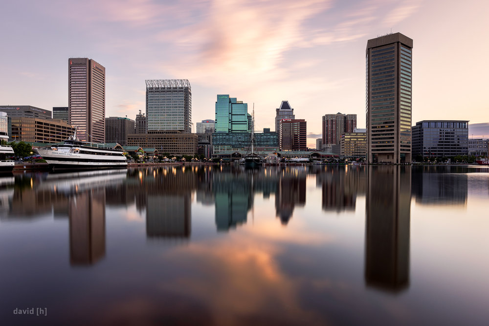 The Baltimore Skyline as seen from the inner harbour, just after sunrise.