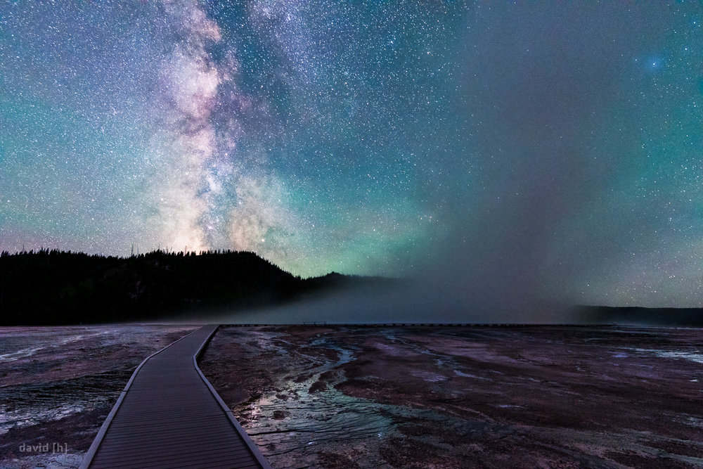 The Milky Way behind the Grand Prismatic Spring at Midway Geyser basin at around 2.30 am.