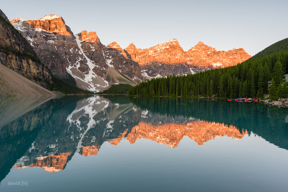 Moraine Lake and the Ten Peaks being kissed by the first morning light.