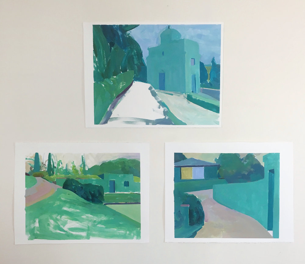 Sketches from Montespertoli, Italy - acrylic on paper, 2018