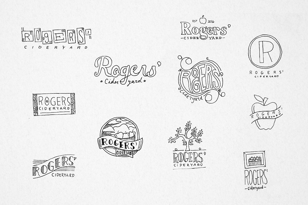 Sketches for logo design.