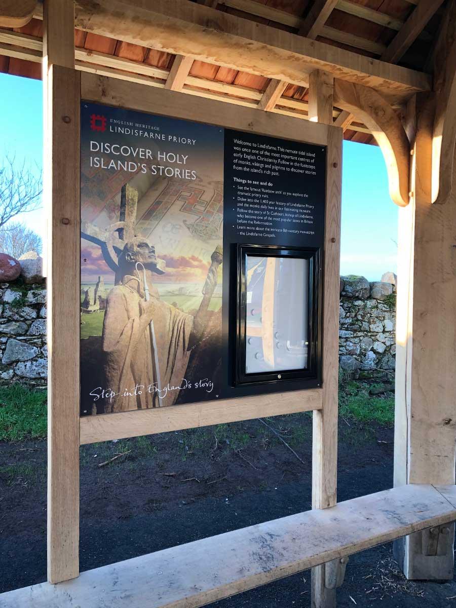 English Heritage Interpretation panel and noticeboard