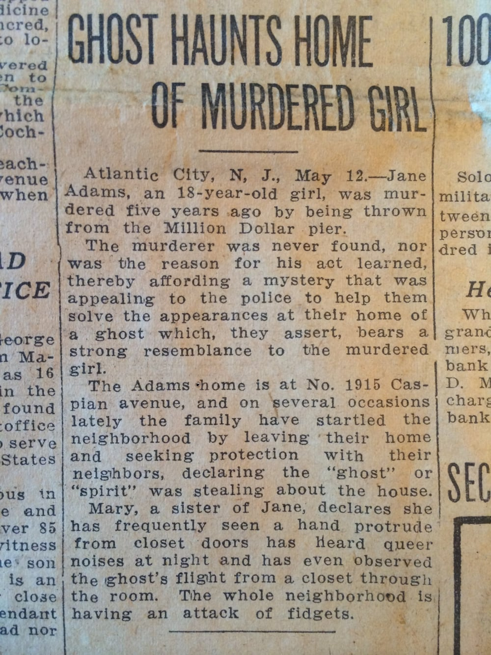 """Ghost Haunts Home of Murdered Girl"""