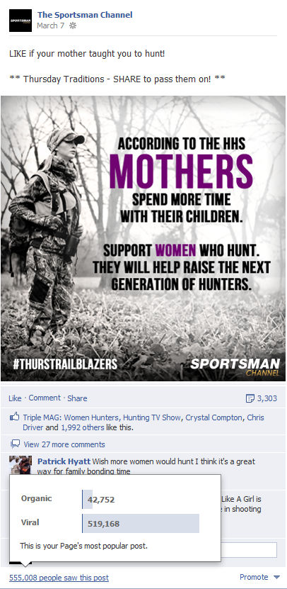 Sportsman Channel's #1 Facebook post as of 3/12/2013
