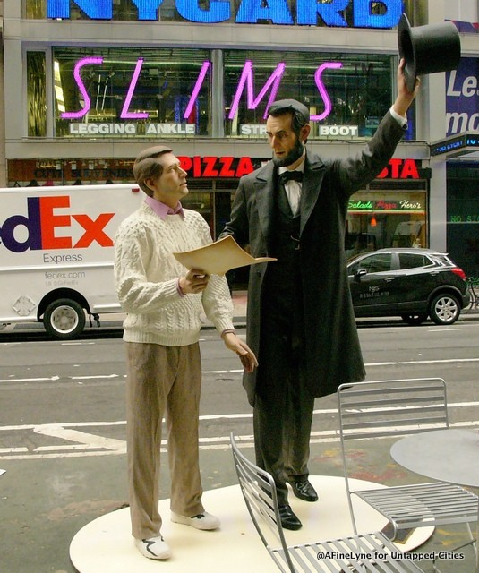 """Return Visit"" shows President Abraham Lincoln with a man from the 20th century side-by-side. Normally, the figures stand in front of the Wills House in Gettysburg Pennsylvania, noting the location where Lincoln stayed overnight finishing the Gettysburg Address. Courtesy of Untappedcities.com and afinelyne.com/."