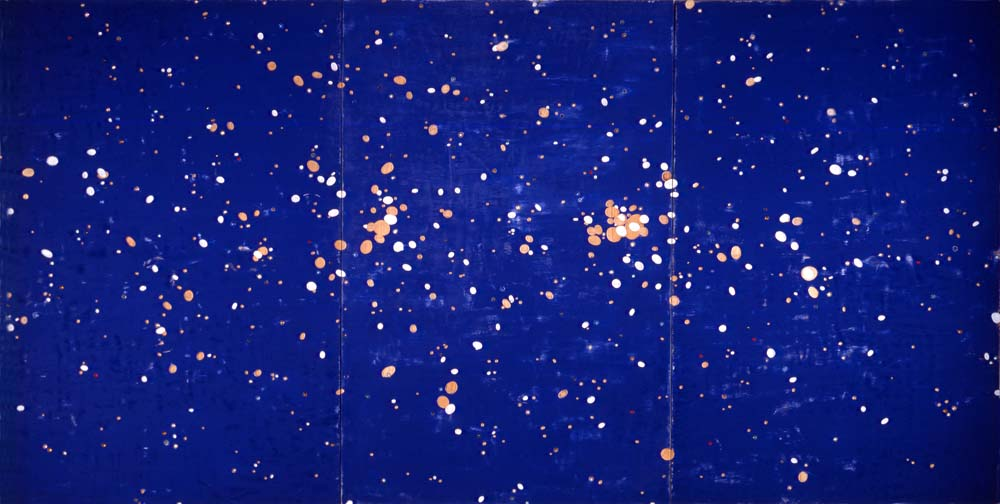 """91.5"""" x 180""""  Enamel, acrylic gems  On plywood panels"""