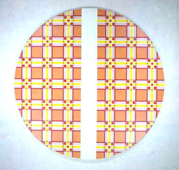 Tangerine Plaid with Stripe Tondo 1968