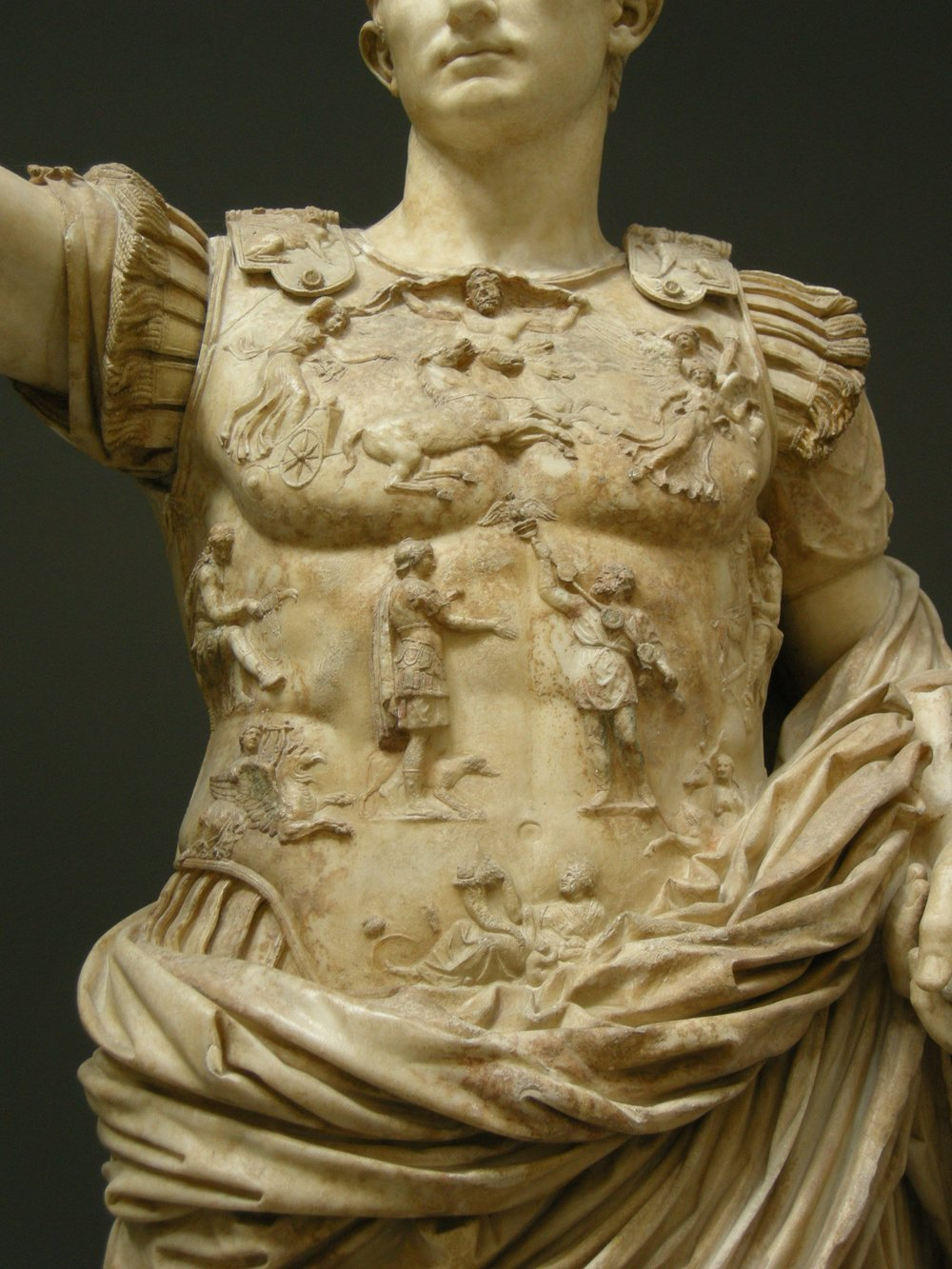 Caelus appears at the top of the curiass of Augustus of Prima Porta. One of the few depictions of Caelus in art.