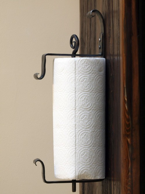 Wall Paper Towel Holder wall mounted iron paper towel holder. hand forgeda blacksmith