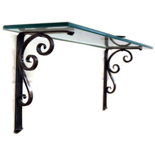 Wall Mounted Metal Shelf trumpet scroll shelf bracket, hand forged, wall mount shelf