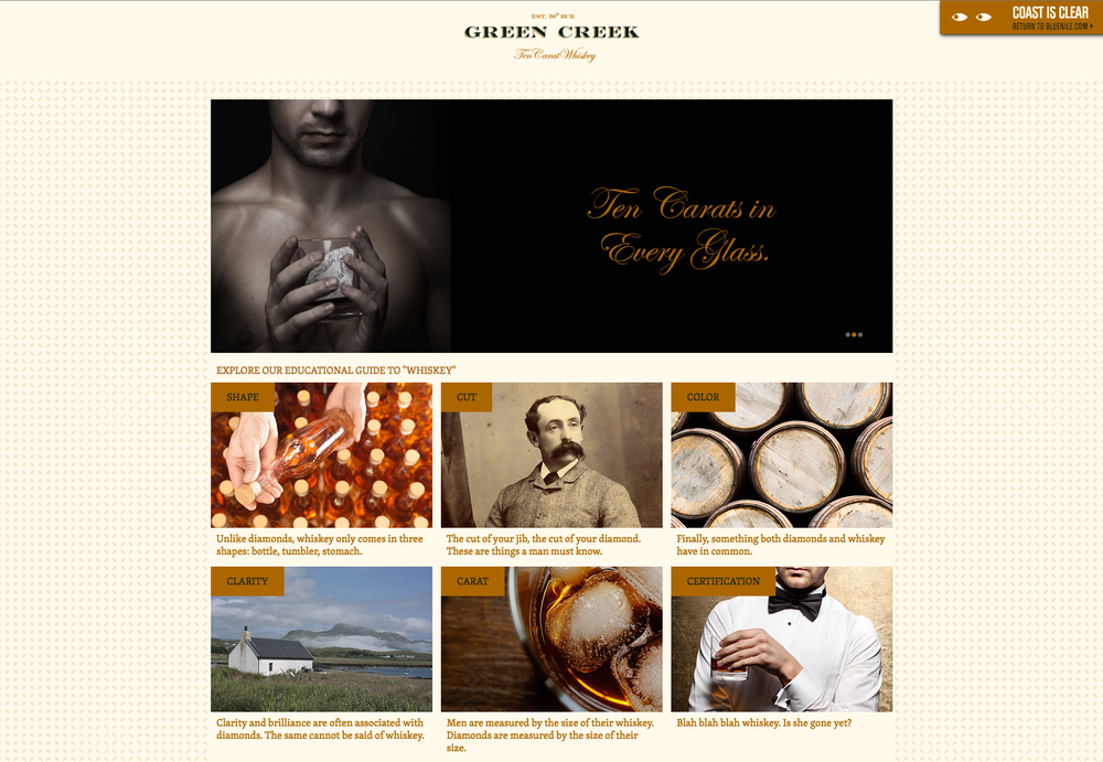 """Company number two: """"Green Creek Ten-Carat Whiskey"""". Lots of puns and entendres going on here if that's the kind of thing you're into."""
