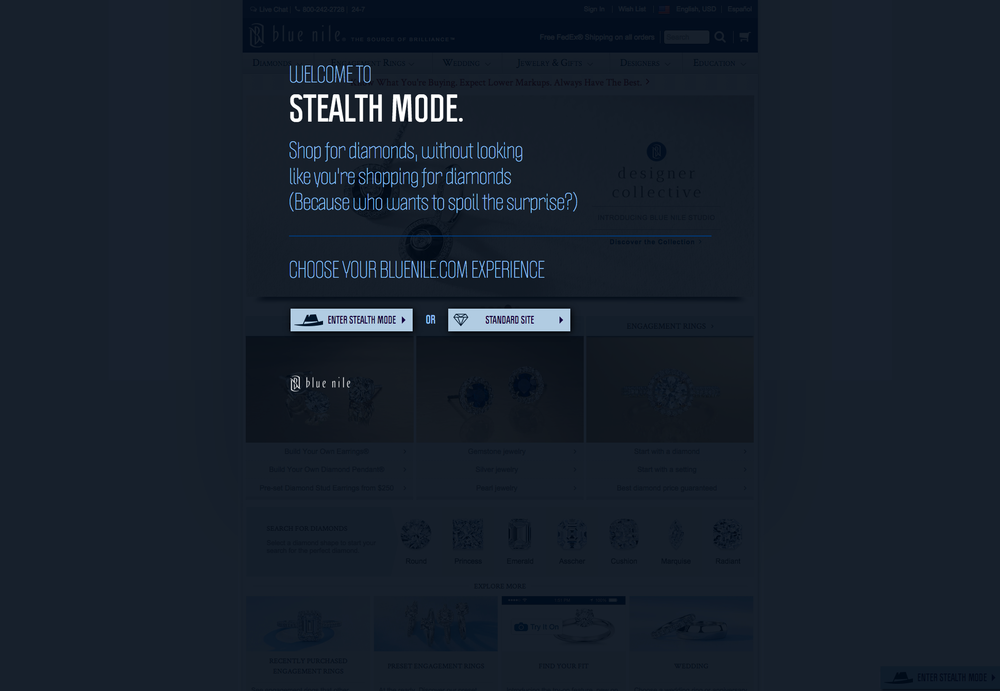 "After clicking the banner, users are given the option to enter ""Stealth Mode""."