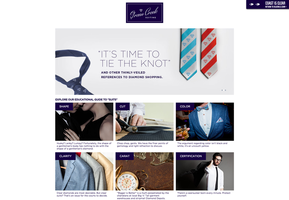 """The first of three fake, generalized """"men's interest"""" sites—a suiting company."""