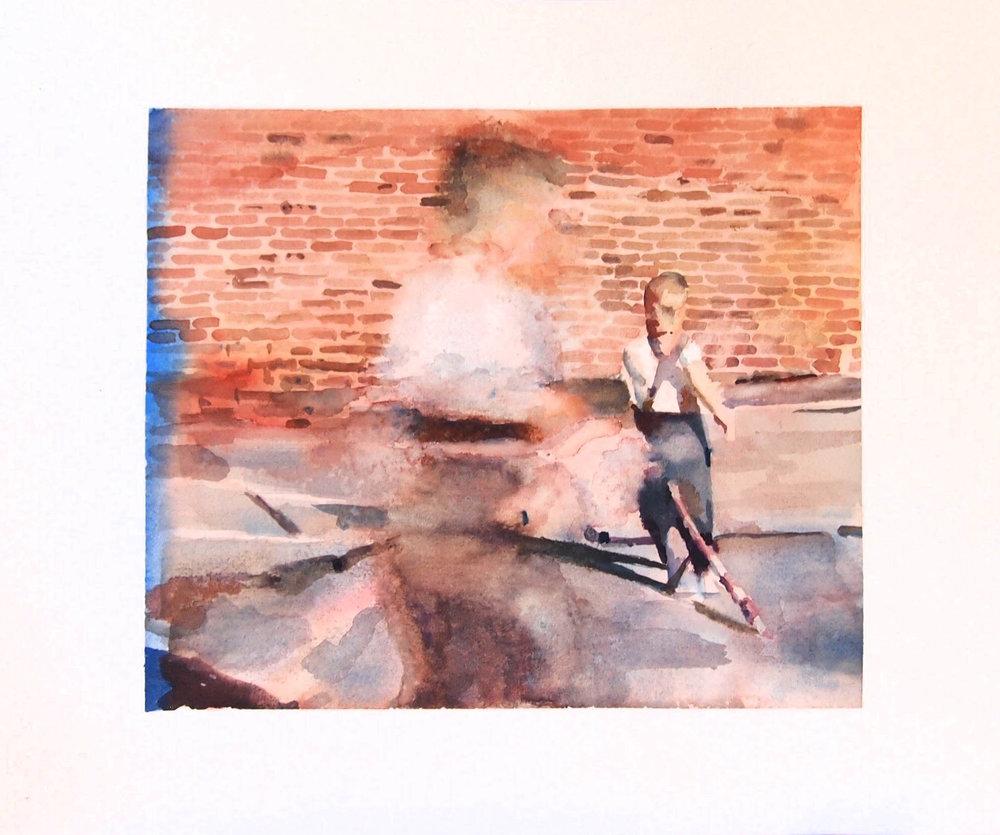 Study of Boys Running in Circles. 2017. Watercolour & Maldon Salt.