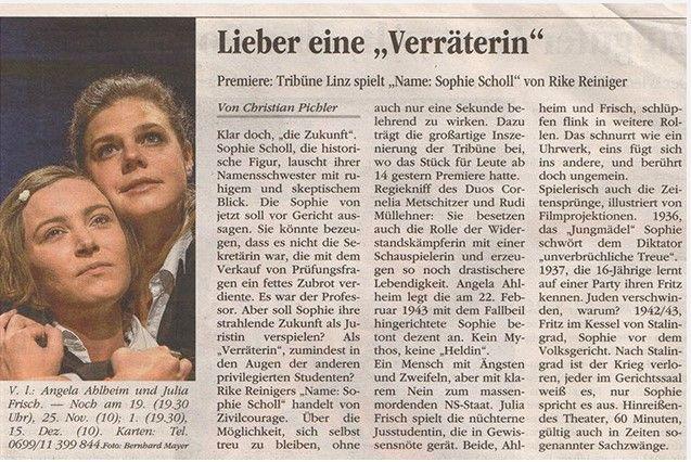 Volksblatt über Name: Sophie Scholl