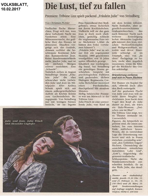 Volksblatt über Fräulein Julie