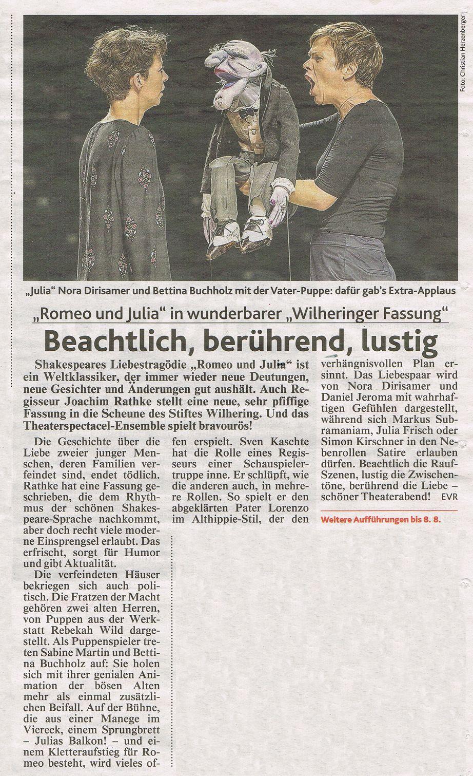 Kronen Zeitung über Romeo und Julia