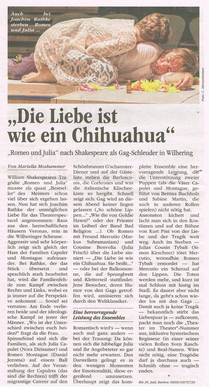 Volksblatt über Romeo und Julia