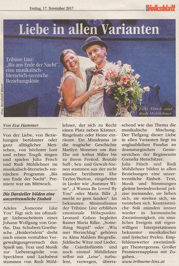 Volksblatt über Bis ans Ende der Nacht