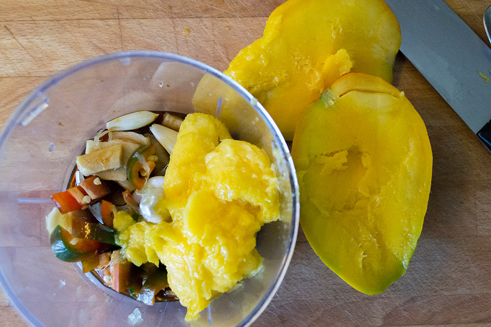The making of the Indian Mango + Ginger Jalapeño marinade