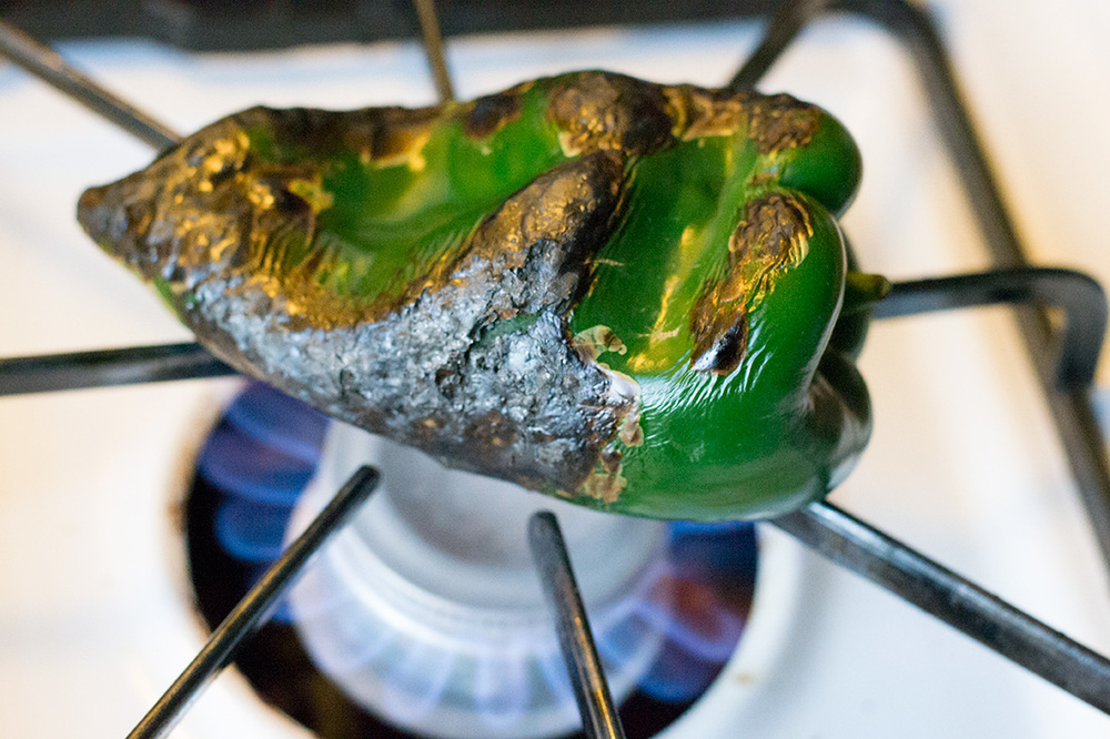 Fire roasting the Poblano pepper